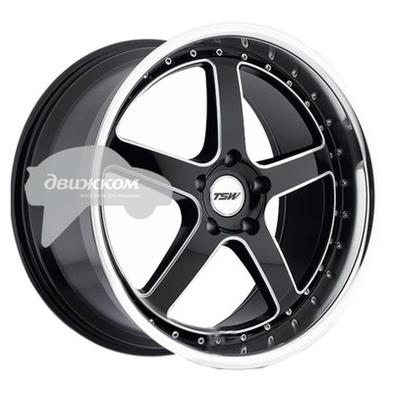 Литые диски TSW 8x18/5x120 ET35 D76 Carthage Gloss Black Mirror Lip Milled Spokes