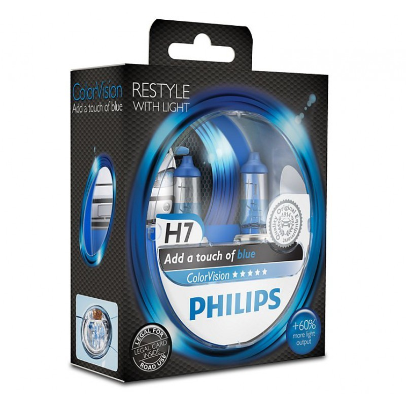 Галогенная лампа PHILIPS COLOR VISION BLUE H7 12V 55W 3350K